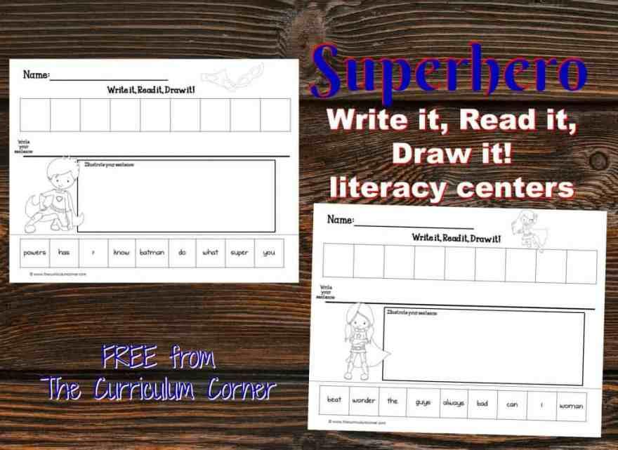 FREE Superhero Scrambled Sentences Literacy Center | Write it, Read it, Draw it scrambled sentences from The Curriculum Corner