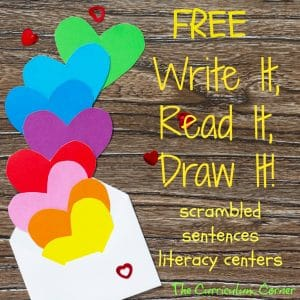FREEBIE Write It, Read It, Draw It Literacy Centers for Valentine's Day from The Curriculum Corner