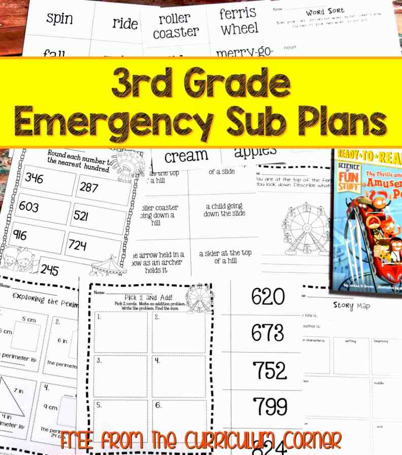 FREE 3rd Grade Sub Plans - perfect for an emergency absence from The Curriculum Corner