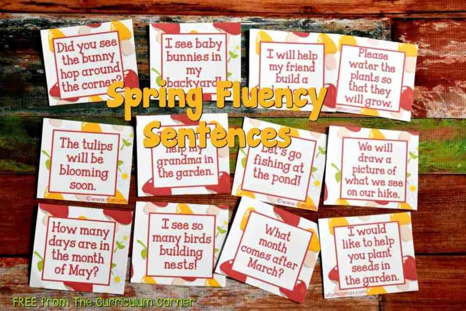 FREE Spring Fluency Sentences part of our Spring Fling Math & Literacy Centers