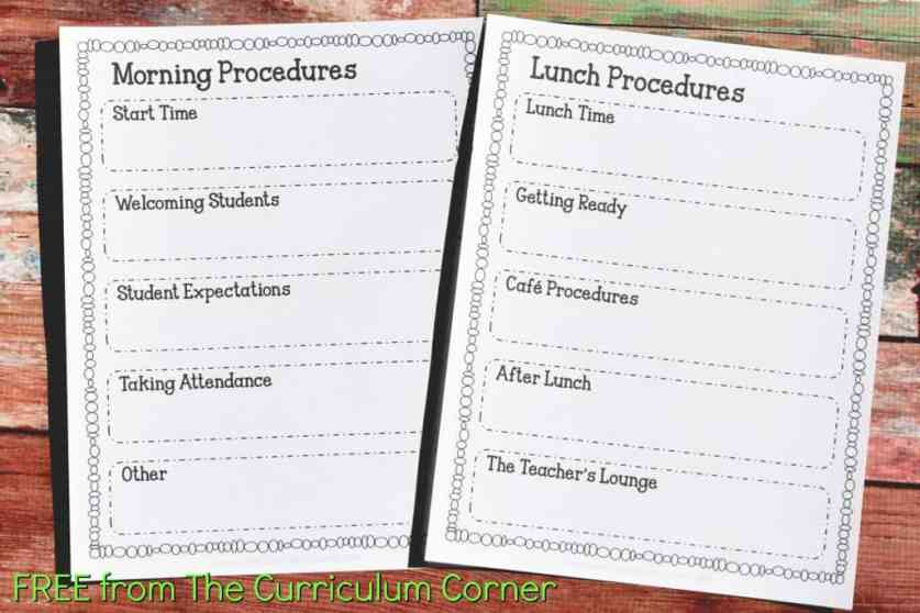 FREE Sub Binder from The Curriculum Corner 4