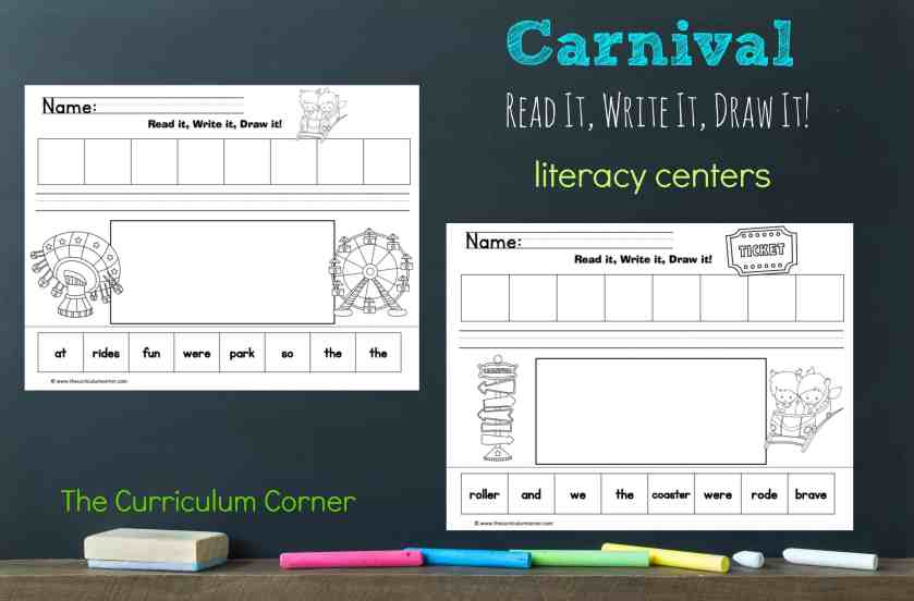 FREE Carnival Literacy Center from The Curriculum Corner