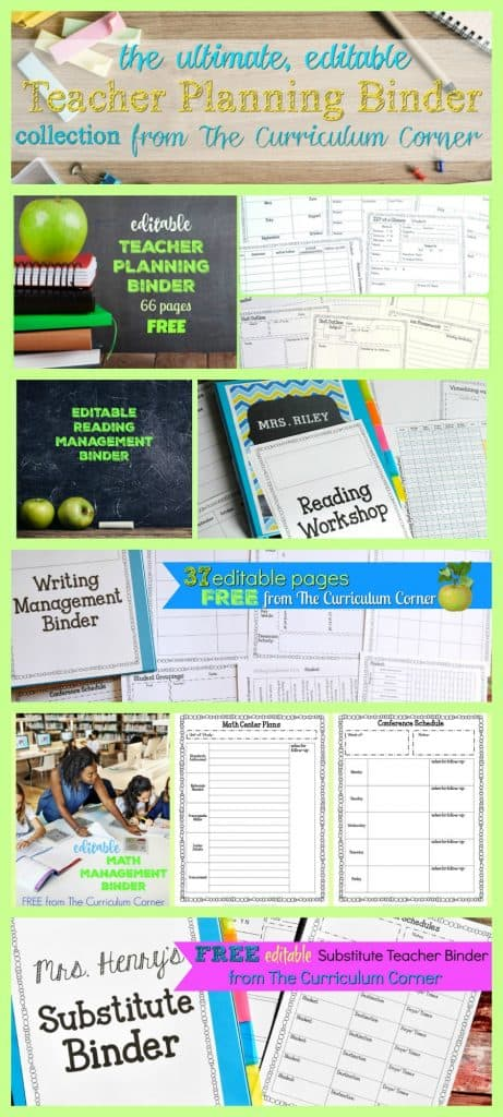 FREE Ultimate Editable Teacher Binder Collection from The Curriculum Corner | planner, data, reading, writing, math & more! 2