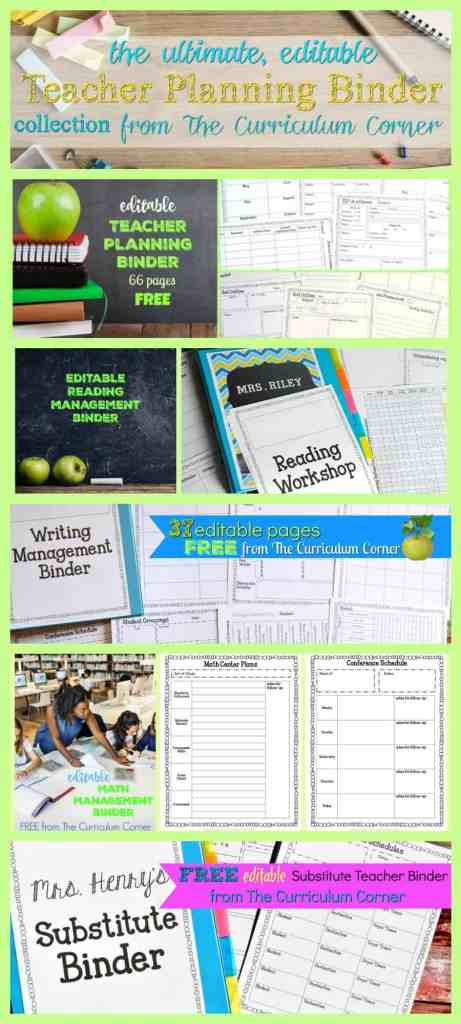 FREE Ultimate Editable Teacher Binder Collection from The Curriculum Corner   planner, data, reading, writing, math & more! 2