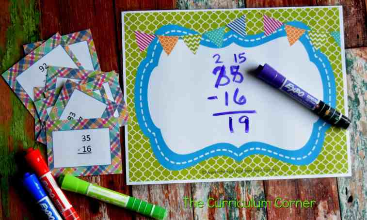 Subtraction & Addition Centers for Math Practice FREE from The Curriculum Corner 5