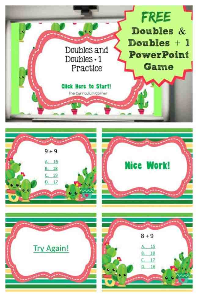 FREE Doubles and Doubles + 1 PowerPoint Game | Doubles Facts | The Curriculum Corner 5