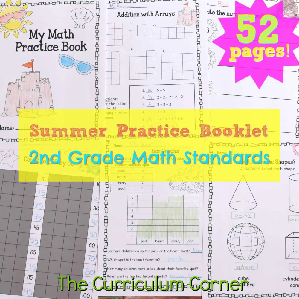 medium resolution of 2nd Grade Standards Summer Math Practice - The Curriculum Corner 123