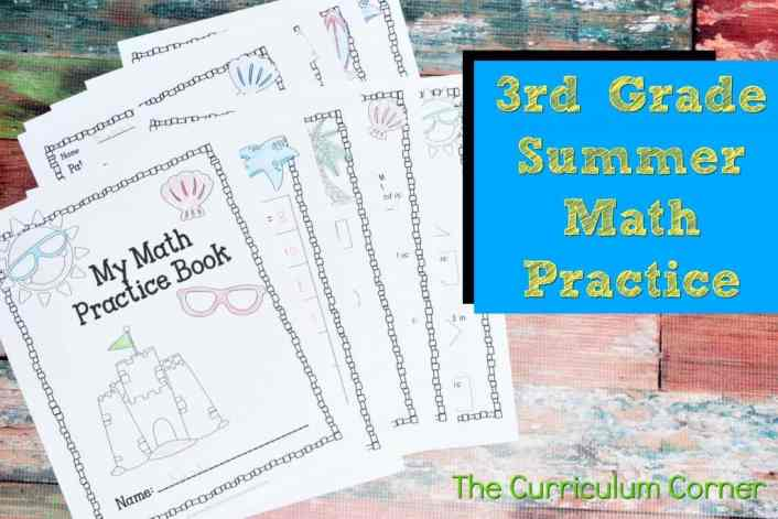 FREE 3rd Grade Standards Summer Math Practice Booklet from The Curriculum Corner 3