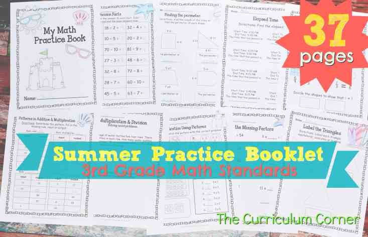 FREE 3rd Grade Standards Summer Math Practice Booklet from The Curriculum Corner
