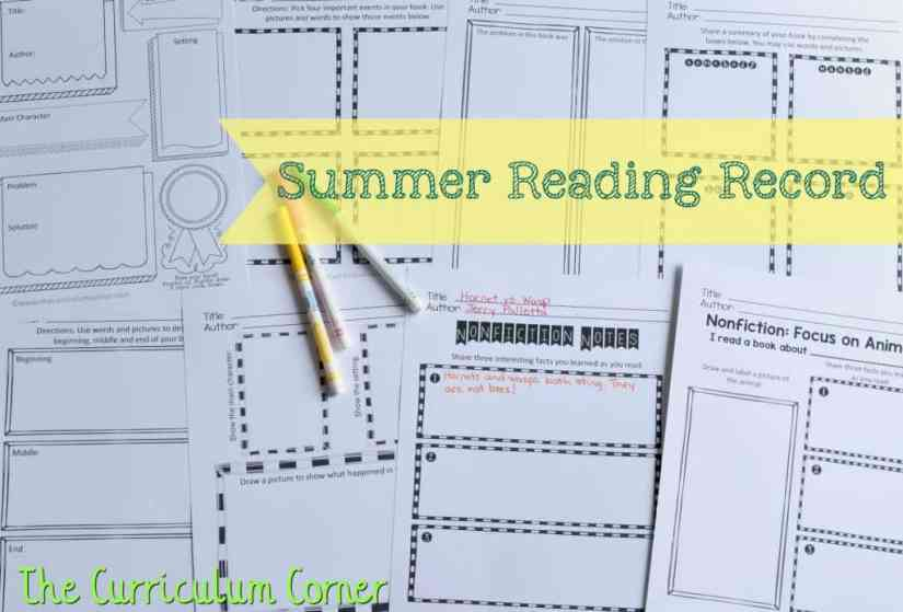 FREE Summer Reading Record Journal from The Curriculum Corner 3