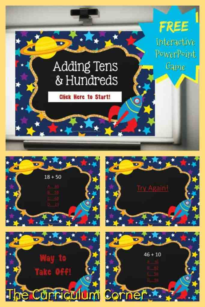 FREE Adding Tens & Adding Hundreds PowerPoint Game from The Curriculum Corner