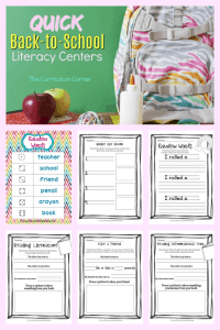 FREE Quick Back to School Literacy Centers from The Curriculum Corner 5