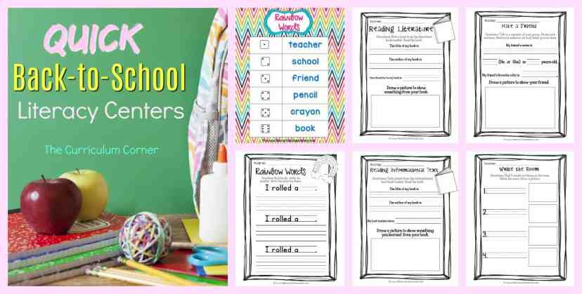 FREE Quick Back to School Literacy Centers from The Curriculum Corner 4