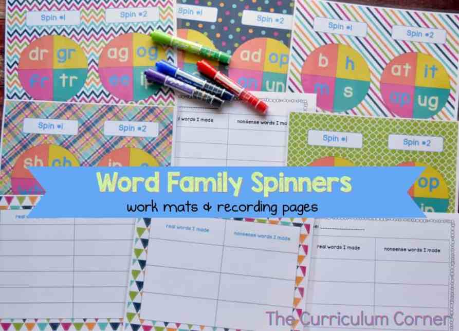 Free Word Family Activity Spinners from The Curriculum Corner