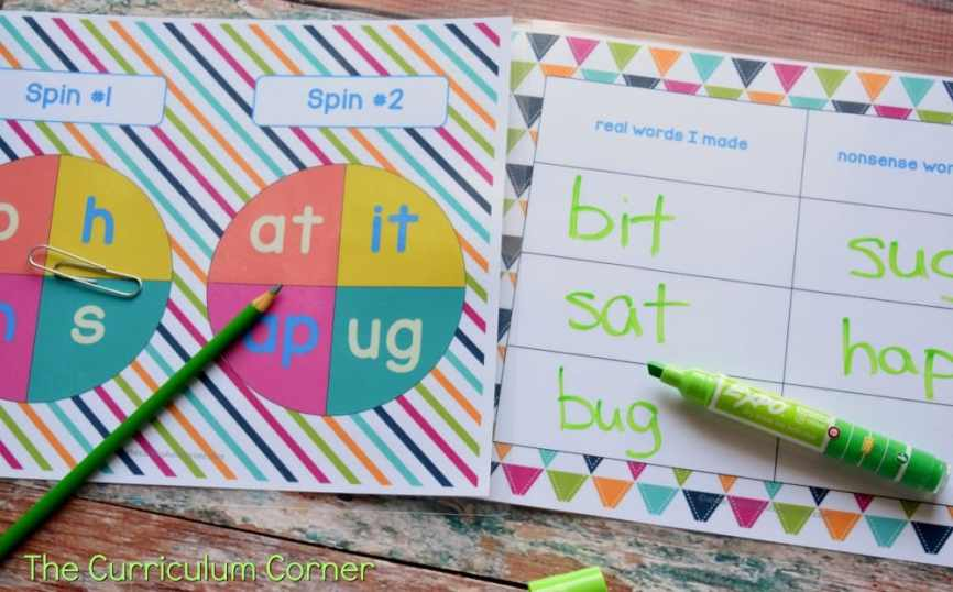 Free Word Family Activity Spinners from The Curriculum Corner 6