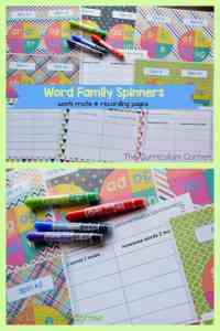 Free Word Family Activity Spinners from The Curriculum Corner FREEBIE