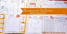 FREE fall math & fall literacy center activities from The Curriculum Corner 4