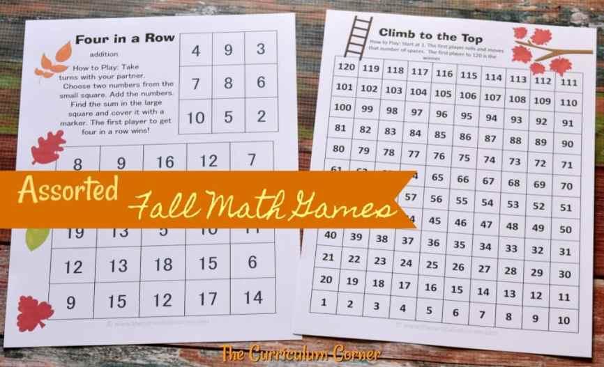 FREE fall math & fall literacy center activities from The Curriculum Corner 3