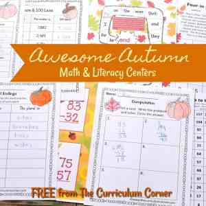 FREE fall math & fall literacy center activities from The Curriculum Corner