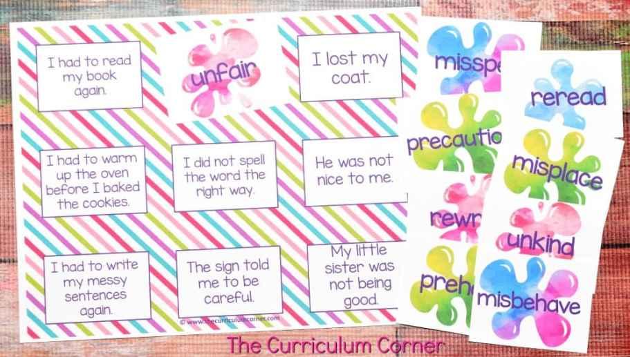 FREE Root Words, Prefix Practice, Suffix Practice Instructional & Practice Materials from The Curriculum Corner 6