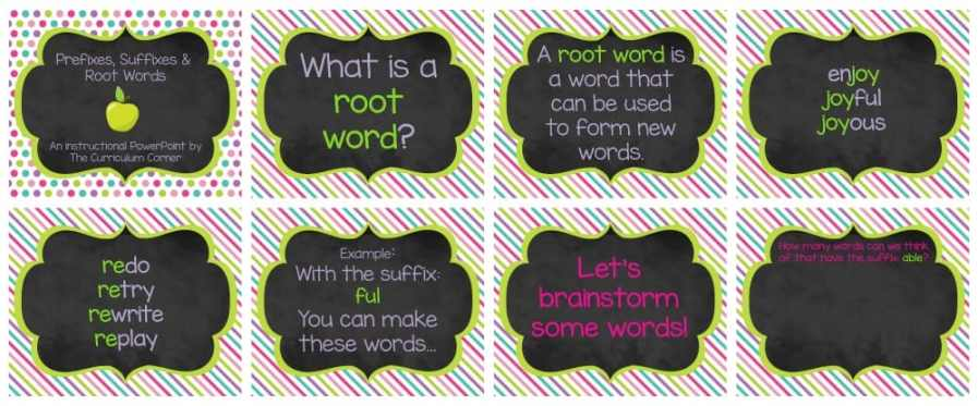 FREE Root Words, Prefix Practice, Suffix Practice Instructional & Practice Materials from The Curriculum Corner
