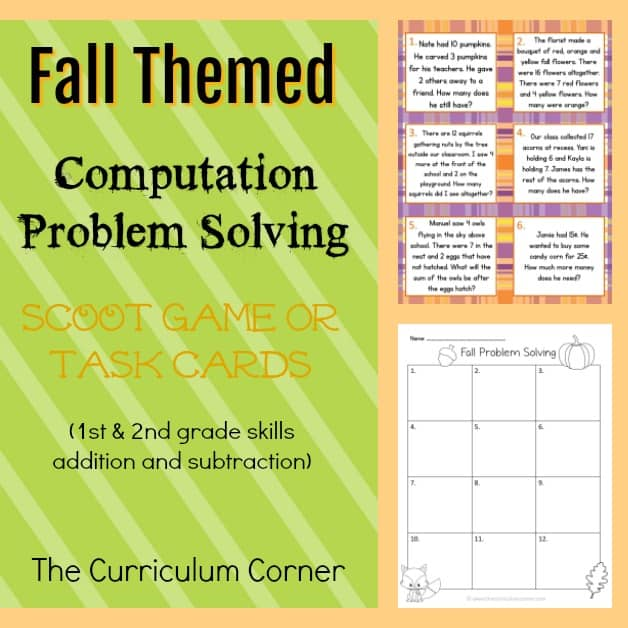 Fall Problem Solving Cards (2nd Grade)