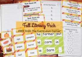 FREE Fall Literacy Pack from The Curriculum Corner | Word Work | Fluency Sentences | Write the Room & more