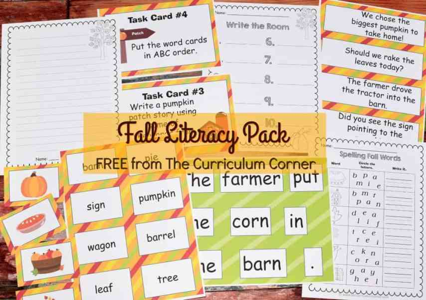 FREE Fall Literacy Centers from The Curriculum Corner | Word Work | Fluency Sentences | Write the Room & more