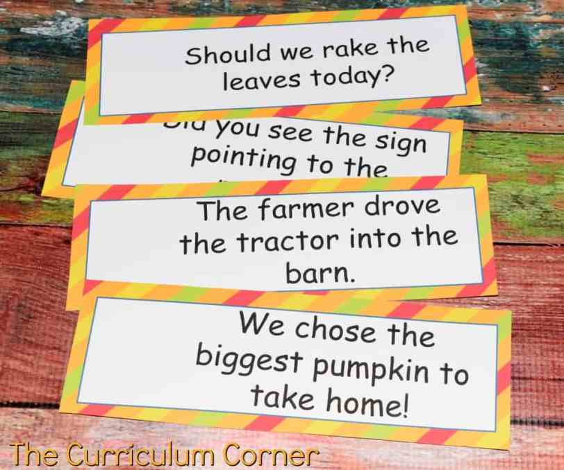 FREE Fall Literacy Pack from The Curriculum Corner | Word Work | Fluency Sentences | Write the Room & more 4