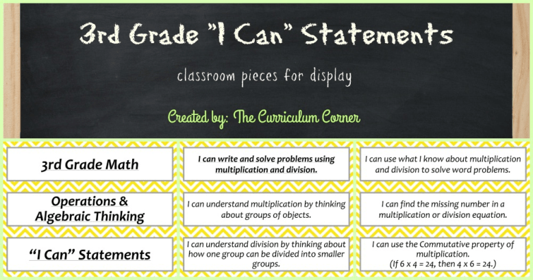FREE 3rd Grade Kid Friendly Standards from The Curriculum Corner | NOT Common Core Many Resources Available