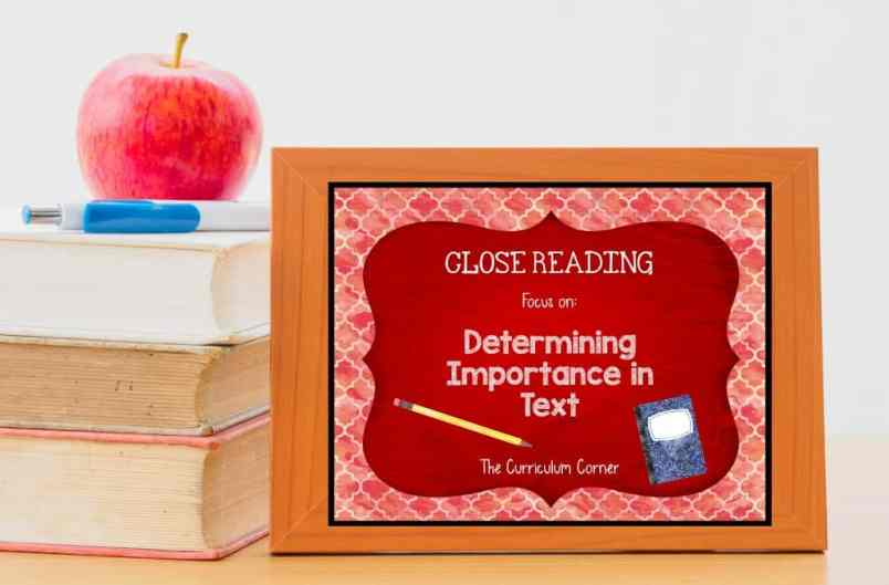 FREE Close Reading: Determining Importance in Text from The Curriculum Corner 5