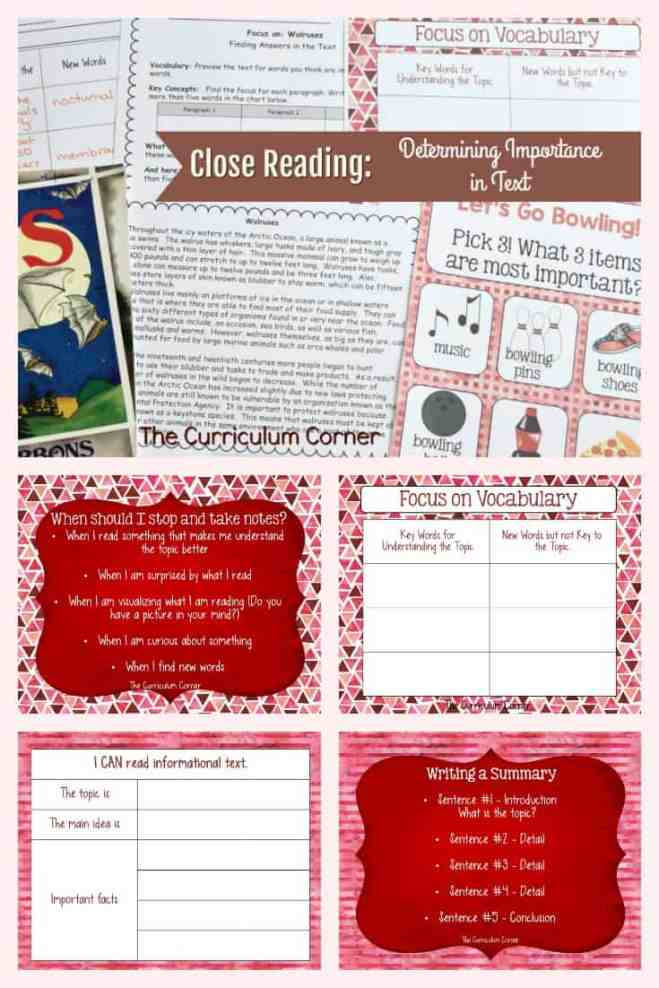 FREE Close Reading: Determining Importance in Text from The Curriculum Corner 6