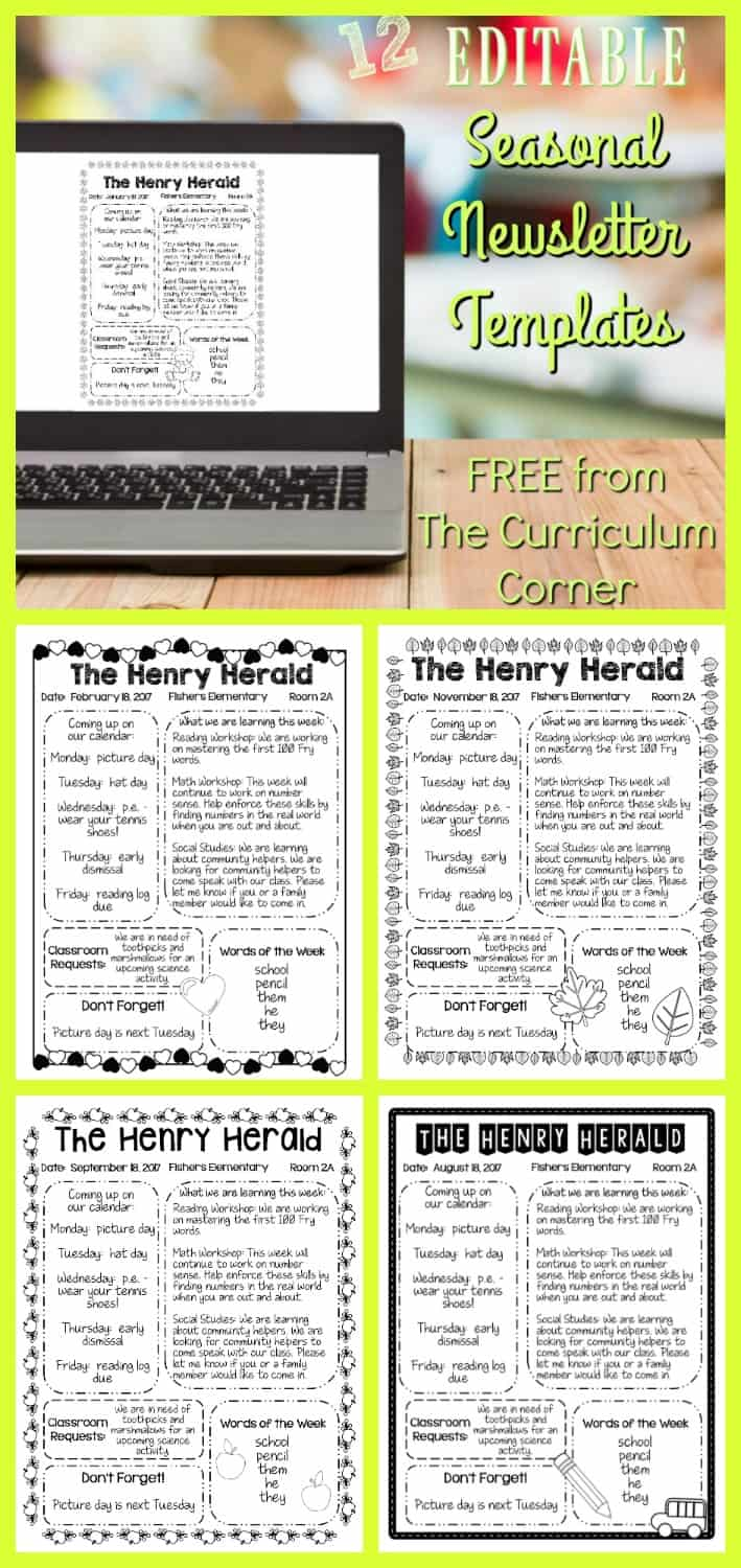 FREE 12 Seasonal Newsletter Templates from The Curriculum Corner | Classroom Newsletter