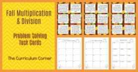 FREE Fall Math Multiplication & Division Problem Solving
