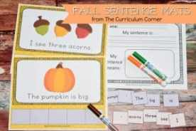 FREE Fall Scrambled Sentence Mats from The Curriculum Corner