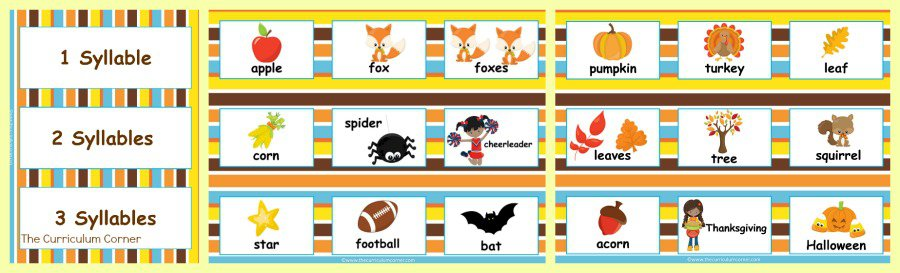 FREE Fall Syllable Practice from The Curriculum Corner | Literacy Center