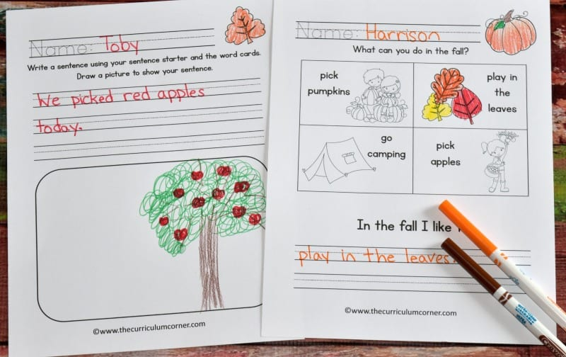 FREE Fall Writing Interventions from The Curriculum Corner 3