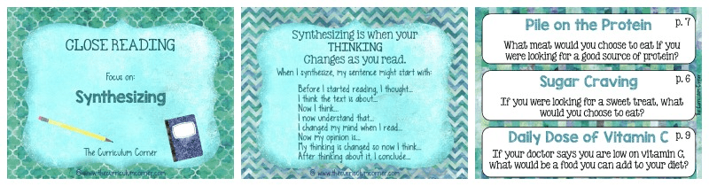 FREE: Close Reading Synthesizing Informational Text from The Curriculum Corner