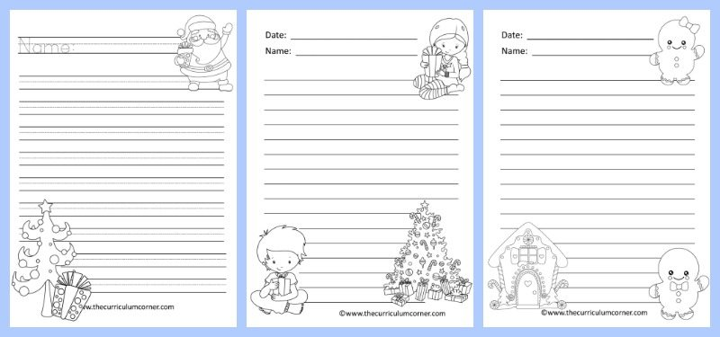 FREE Winter Themed Lined Writing Papers from The Curriculum Corner | Winter Lined Papers 5