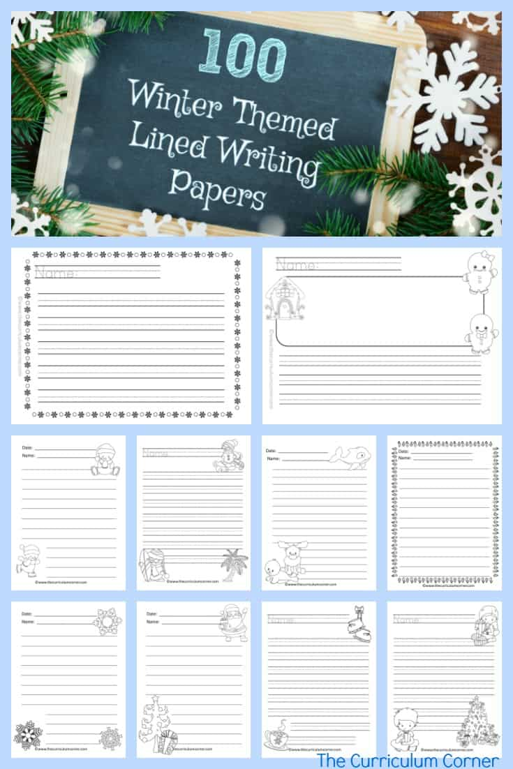 FREE Winter Themed Lined Writing Papers from The Curriculum Corner | Winter Lined Papers 7