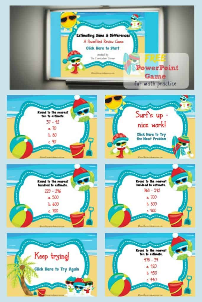 Estimating Sums & Estimating Differences PowerPoint Game FREE from The Curriculum Corner 2