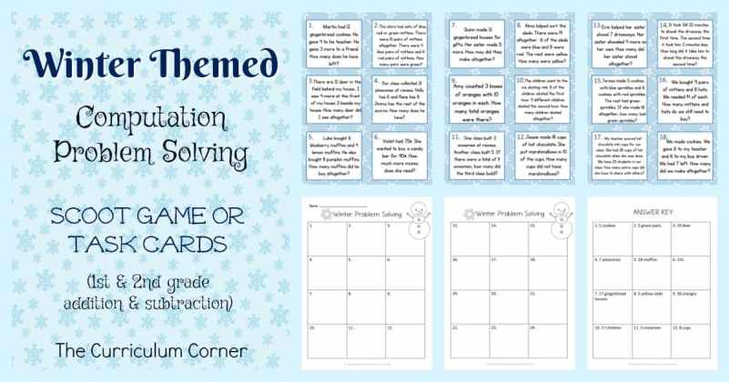 These winter problem solving task cards are geared towards 1st and 2nd grade students.