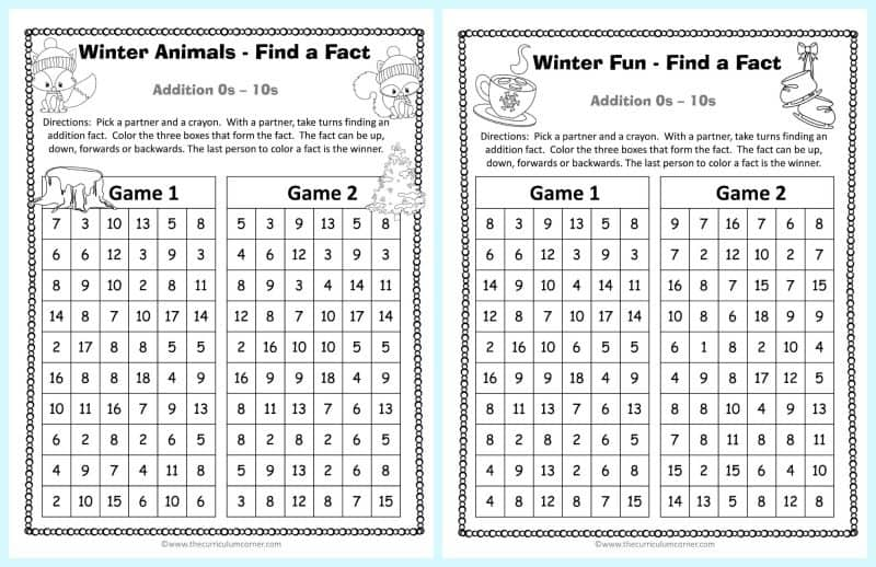 Winter Addition Practice Game 3