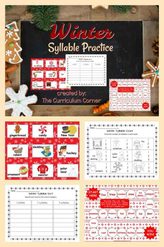 Winter Syllable Practice FREE from The Curriculum Corner