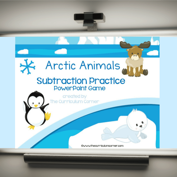 FREE Arctic Animals Subtraction Facts PowerPoint Game from The Curriculum Corner