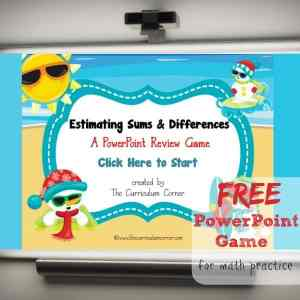 FREE Estimating Sums & Differences PowerPoint Game from The Curriculum Corner