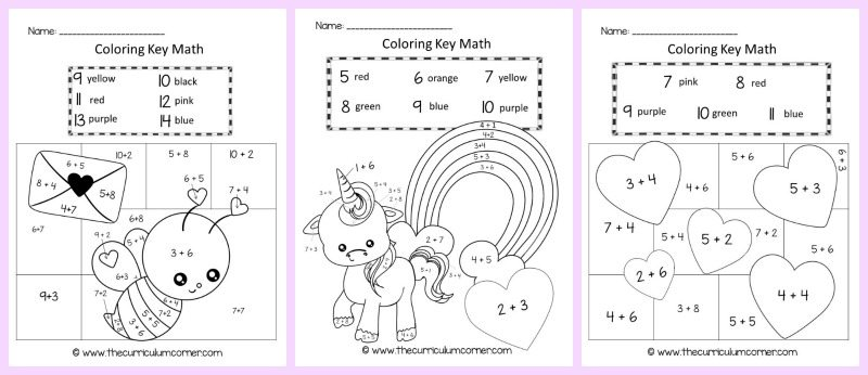 Valentine\'s Day Color Key Addition - The Curriculum Corner 123