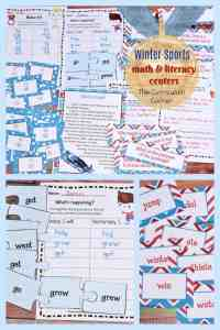 Winter Sports Games Printables FREE math & literacy centers from The Curriculum Corner