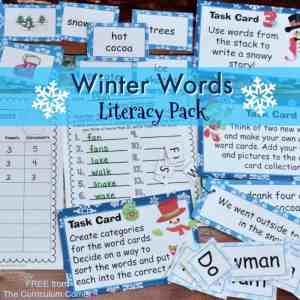 FREE Winter Words Literacy Center Activities from The Curriculum Corner