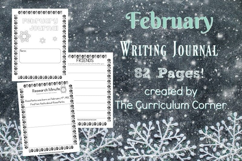 This February journal is designed for your primary classroom. Use the pages to create journals or for February writing prompts.